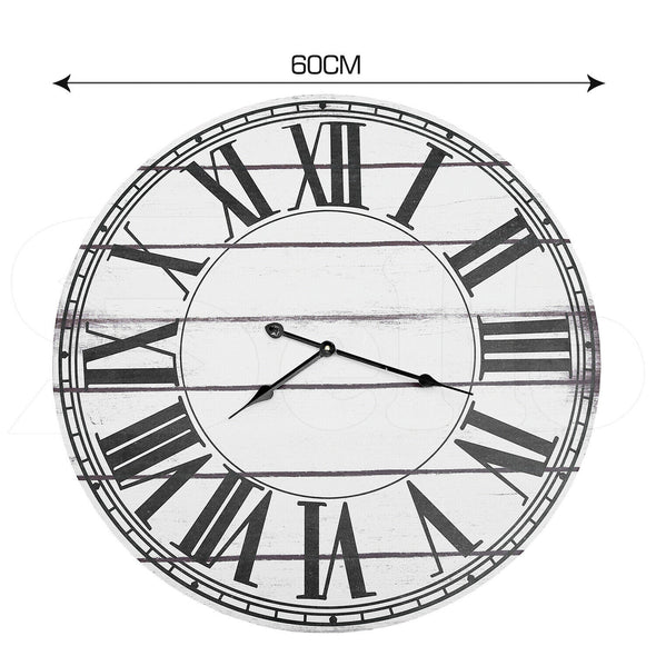 Large Retro Vintage Wall Clock Roman Numerals Giant Open Face Metal Wooden 60cm