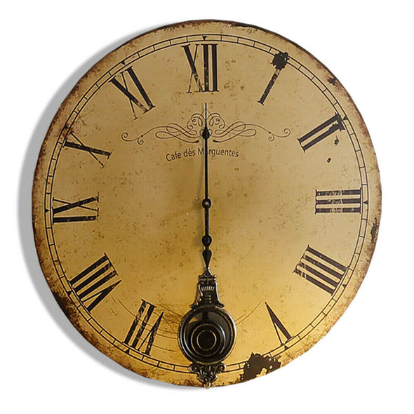 Large Art Rustic Wall Clock Retro Chic Iron Metal Frame MDF backdrop Home Decor