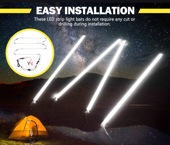 4x Camping LED Light Strip Bar Aluminium Waterproof Tent Boat Caravan 4x4 12V
