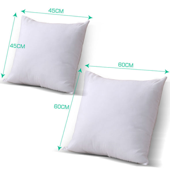 DreamZ 4 Cushion Pillow Inserts 45x45cm White Outer Case Hypoallergenic Fibre