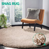 Ultra Soft Anti Slip Round Plush Shaggy Floor Rug Carpet 120cm Diameter Beige