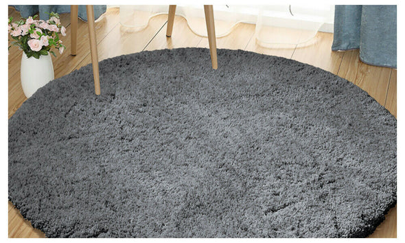 Ultra Soft Anti Slip Round Plush Shaggy Floor Rug Carpet 120cm Diameter Charcoal