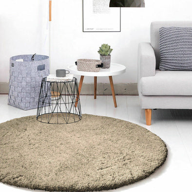 Ultra Soft Anti Slip Round Plush Shaggy Floor Rug Carpet 120cm Diameter Taupe