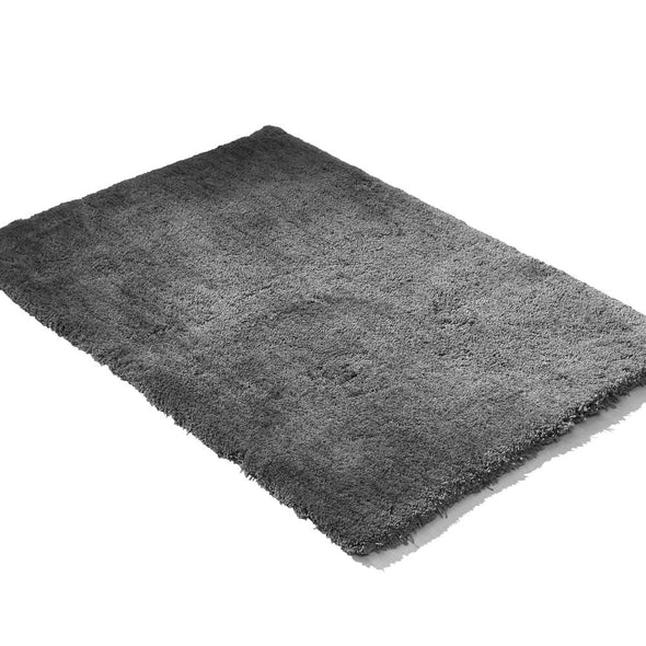 Soft Anti Slip Rectangle Plush Shaggy Floor Rug Carpet in Charcoal 160x225cm