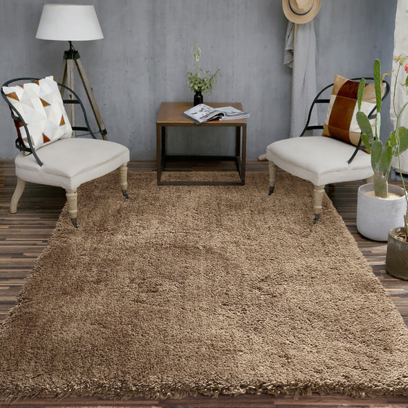 Ultra Soft Anti Slip Rectangle Plush Shaggy Floor Rug Carpet in Taupe 200x300cm