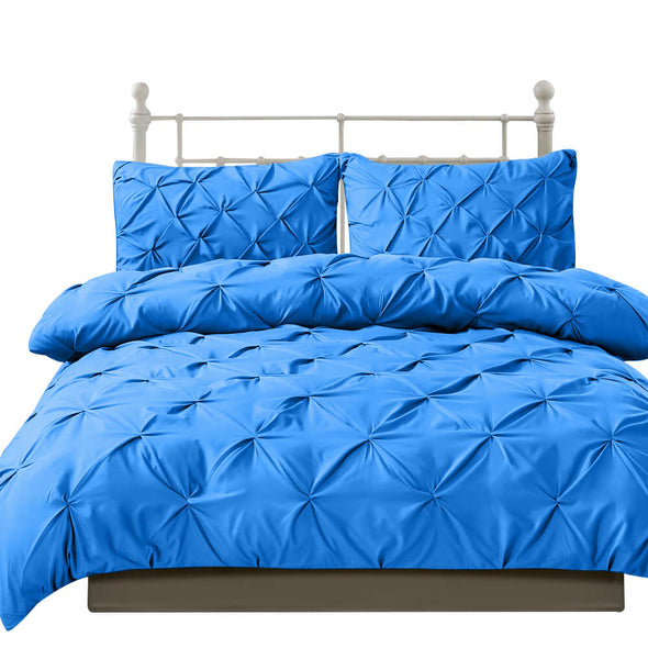 DreamZ Diamond Pintuck Duvet Cover Pillow Case Set in Double Size in Navy