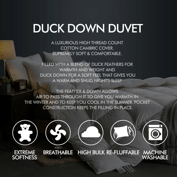 DreamZ 700GSM All Season Duck Down Feather Filling Duvet in Single Size