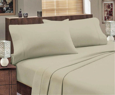 Single size Egyptian Cotton flannelette Sheet Set (Stone)