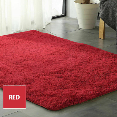 Designer Soft Shag Shaggy Floor Confetti Rug Carpet Home Decor 300x200cm Red