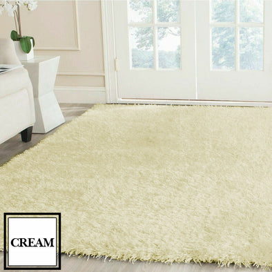 Designer Soft Shag Shaggy Floor Confetti Rug Carpet Home Decor 200x230cm Cream