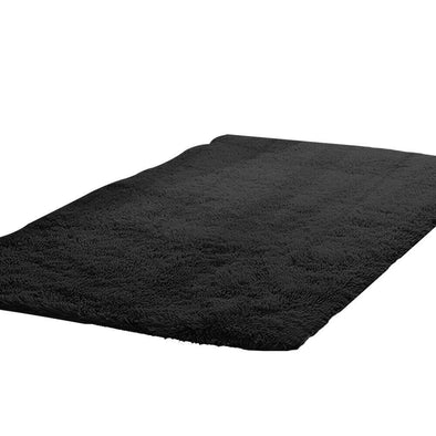 Designer Soft Shag Shaggy Floor Confetti Rug Carpet Home Decor 120x160cm Black