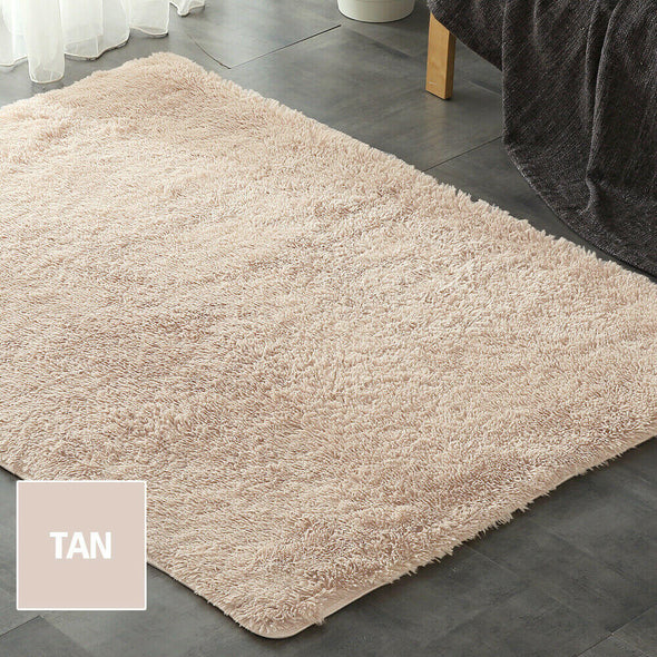 Designer Soft Shag Shaggy Floor Confetti Rug Carpet Home Decor 200x230cm Tan