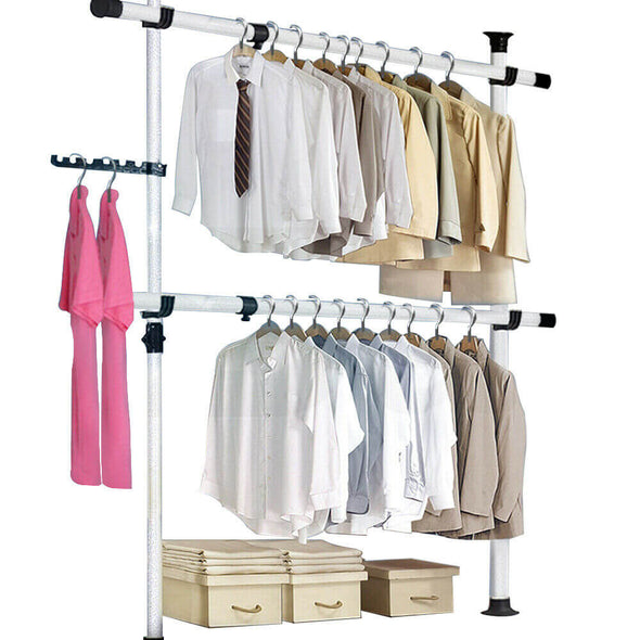 Movable Garment Rack Tools-Free DIY Coat Hanger Clothes Wardrobe 2 Poles 2 Bars