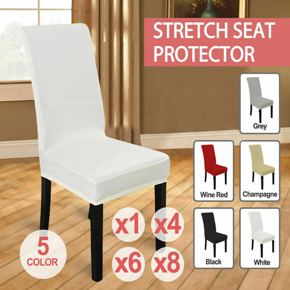 6x Stretch Elastic Chair Covers Dining Room Wedding Banquet Washable Champagne