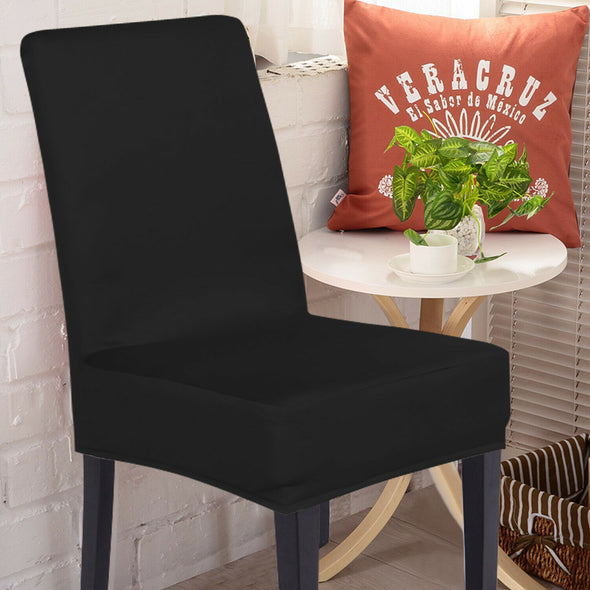 8x Stretch Elastic Chair Covers Dining Room Wedding Banquet Washable Black