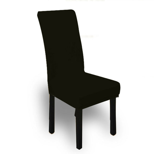 6x Stretch Elastic Chair Covers Dining Room Wedding Banquet Washable Black