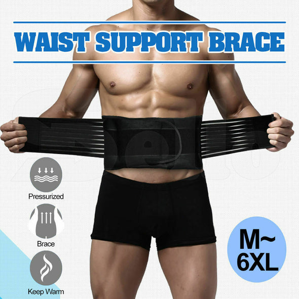 Lumbar and Back Support Belt Brace Strap Pain Relief Posture Waist Trimmer 2XL