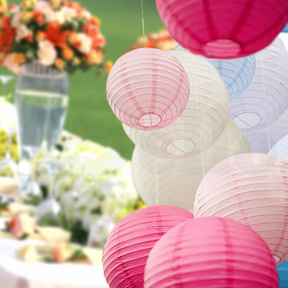 "12"" Paper Lanterns for Wedding Party Festival Decoration - Blue and White Colours"