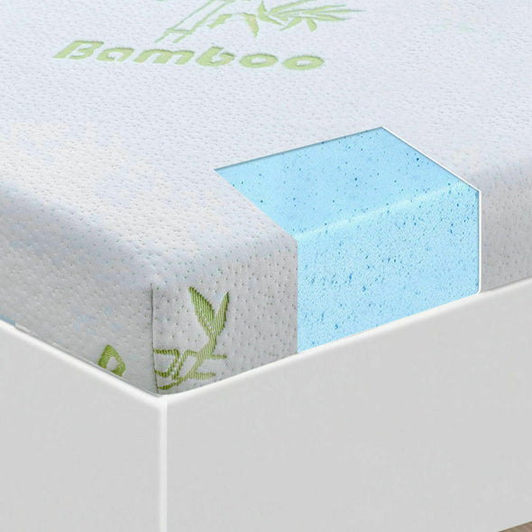 DreamZ 5cm Thickness Cool Gel Memory Foam Mattress Topper Bamboo Fabric Double