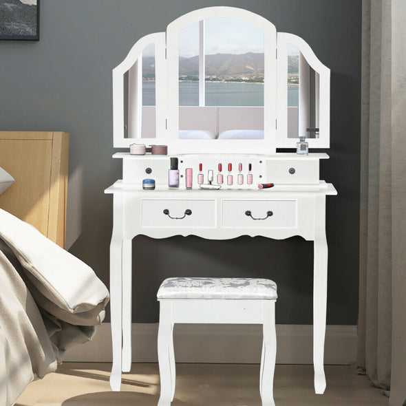 Levede Dressing Table Stool Mirror Jewellery Storage Cabinet Drawer Organiser