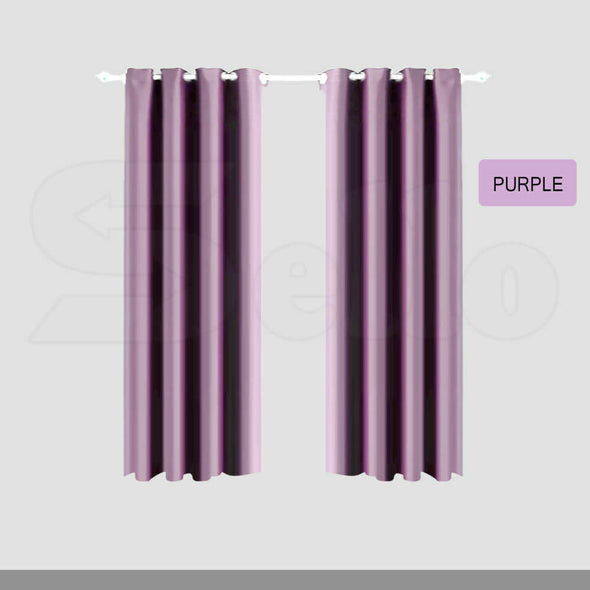 2x Blockout Curtain 3 Layers Eyelet Pure Fabric Room Darkening 140x213cm Purple