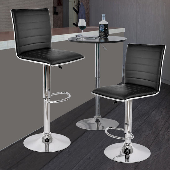 2x Levede PU Leather Swivel Bar Stool Kitchen Stool Dining Chair Barstools White