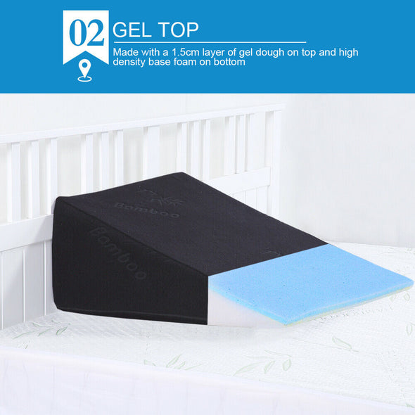 2x Cool Gel Memory Foam Bed Wedge Pillow Cushion Neck Back Support Sleep Cover