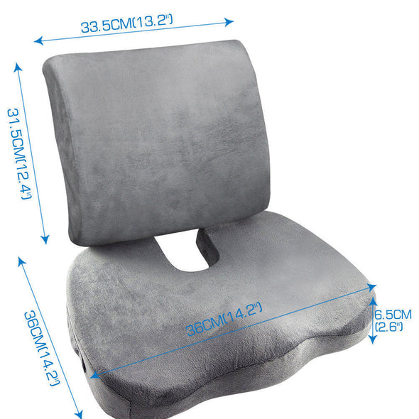 Memory Foam Seat Cushion Lumbar Back Support Orthoped Car Office Pain Relief