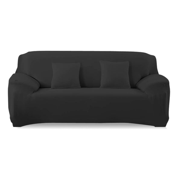 Easy Fit Stretch Couch Sofa Slipcovers Protectors Covers 2 Seater Black