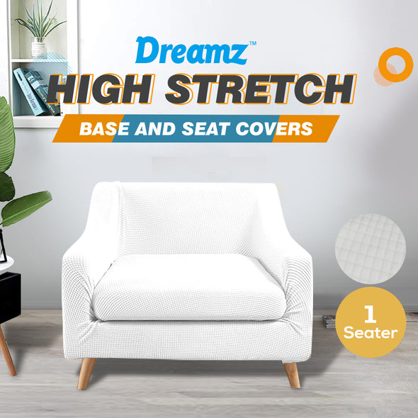 DreamZ Couch Sofa Seat Covers Stretch Protectors Slipcovers 1 Seater White