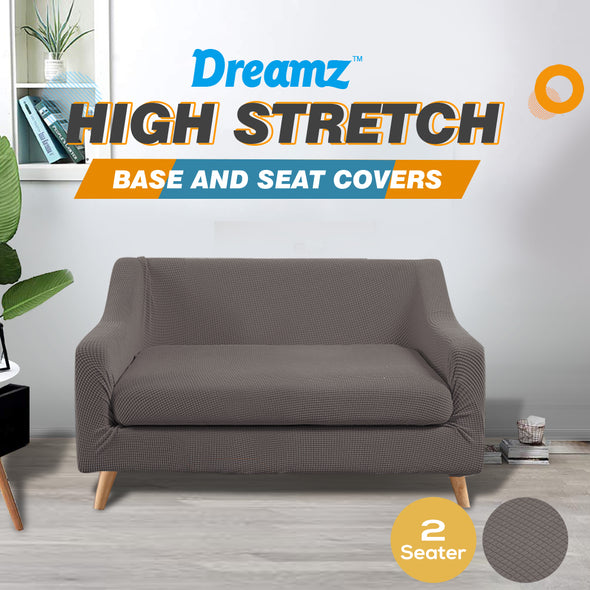 DreamZ Couch Sofa Seat Covers Stretch Protectors Slipcovers 2 Seater Chocolate