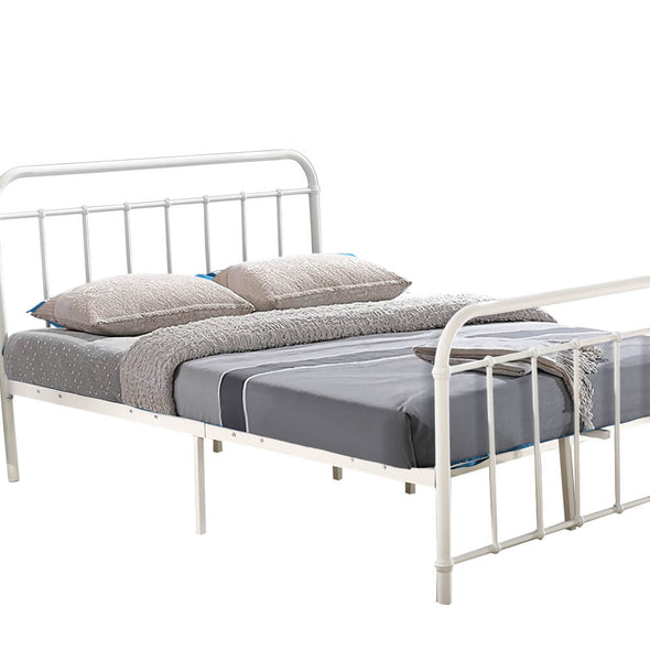 Levede Metal Bed Frame in King Single Size in White Colour
