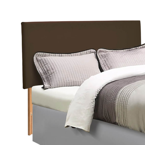 Levede PU Leather Bed Headboard with Wooden Legs in King Size in Brown Colour