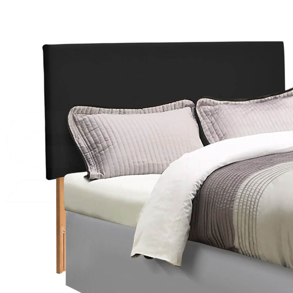 Levede PU Leather Bed Headboard with Wooden Legs in Single Size in Black Colour