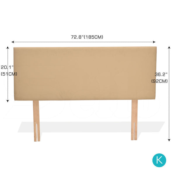 Levede PU Leather Bed Headboard with Wooden Legs in Single Size in Cream Colour
