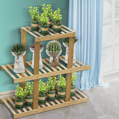 3 Tiers Premium Bamboo Wooden Plant Stand In/outdoor Garden Planter Flower shelf