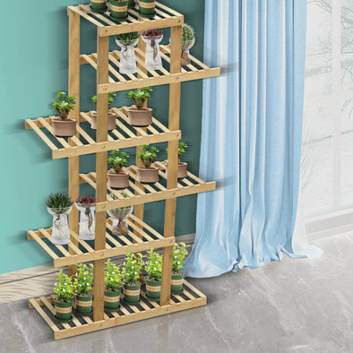 6 Tiers Premium Bamboo Wooden Plant Stand In/outdoor Garden Planter Flower shelf