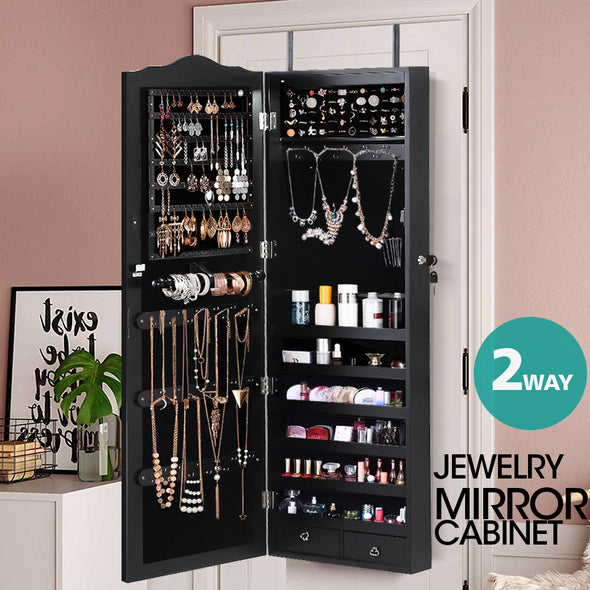 Mirror Jewellery Cabinet Makeup Storage Ear Ring Necklace Box Wall Door Black AU