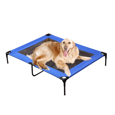 PaWz Heavy Duty Pet Bed Trampoline Dog Puppy Cat Hammock Mesh  Canvas M Blue
