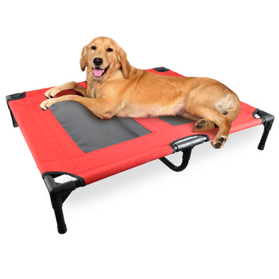 PaWz Heavy Duty Pet Bed Trampoline Dog Puppy Cat Hammock Mesh  Canvas M Red