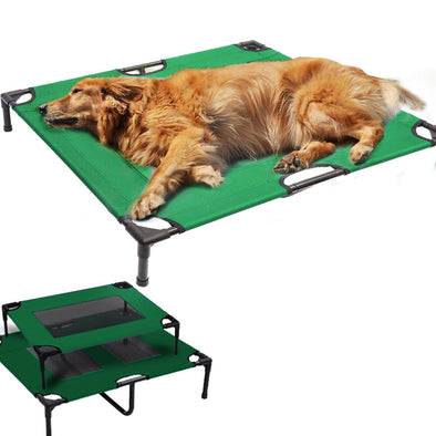 PaWz Heavy Duty Pet Bed Trampoline Dog Puppy Cat Hammock Mesh  Canvas S Green
