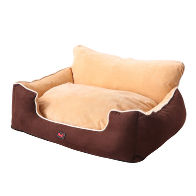 PaWz Size M Brown Colour Pet Deluxe Soft Cushion with High Back Support