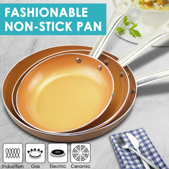 3 Pcs Ceramic Copper Non-Stick Induction Fry Pan Dishwasher Oven Safe Cookware