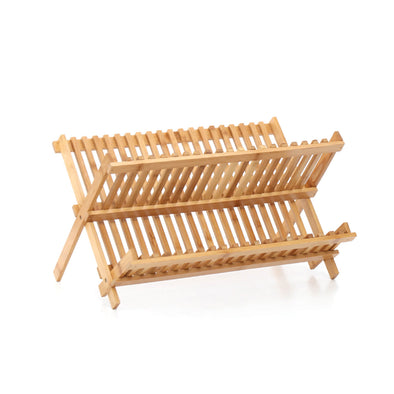 Foldable Bamboo Dish Drying Rack Plate Cup Drainer Tray Utensil Cutlery Holder