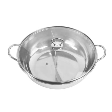 36cm Stainless Steel Twin Mandarin Duck Hot Pot Induction Cookware With Lid