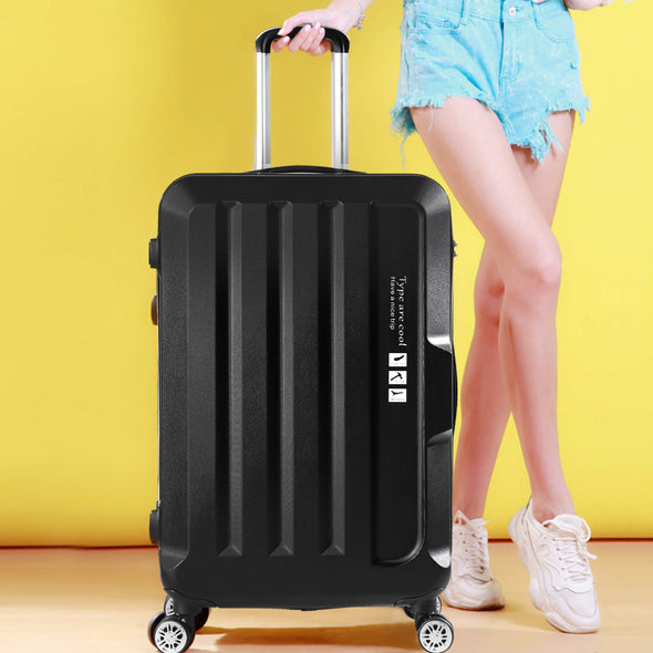 "20"" Carry On Luggage Hard side Lightweight Travel Cabin Suitcase TSA Lock Black"