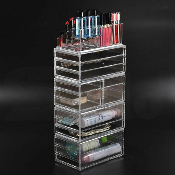 10 Drawers Cosmetic Makeup Organizer Storage Jewelry Box Clear Acrylic