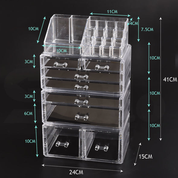 Cosmetic 7/8//9/10/11 Drawer Makeup Organizer Storage Jewellery Box Acrylic