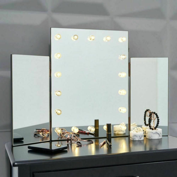 Beauty LED Light Table Top Tri 3 Way Fold Folding Dressing Table Vanity Mirror