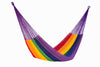Jumbo Size Outdoor Cotton Hammock in Rainbow